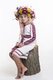 Beautiful girl in Ukrainian ethnic clothing Stock Images