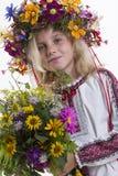 Beautiful girl in Ukrainian ethnic clothing Royalty Free Stock Photo