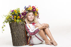 Beautiful girl in Ukrainian ethnic clothing Royalty Free Stock Images