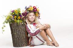 Beautiful girl in Ukrainian ethnic clothing Royalty Free Stock Images