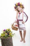 Beautiful girl in Ukrainian ethnic clothing Royalty Free Stock Photos