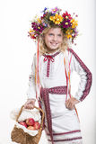 Beautiful girl in Ukrainian ethnic clothing Royalty Free Stock Photo