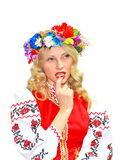Beautiful girl in the Ukrainian national costume Royalty Free Stock Photography
