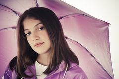 Beautiful Girl With Umbrella Stock Image