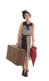 Beautiful girl with umbrella and old suitcase Royalty Free Stock Photos
