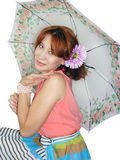Beautiful girl with umbrella Stock Images