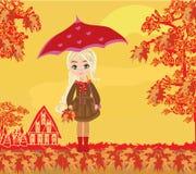 Beautiful girl with umbrella stock illustration