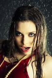 Beautiful girl under a rain Royalty Free Stock Photos