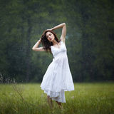 Beautiful girl under rain Royalty Free Stock Images