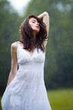 Beautiful girl under rain Stock Photography