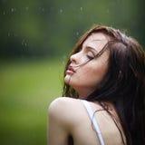 Beautiful girl under rain Royalty Free Stock Photo