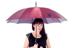 Beautiful girl under the umbrella of Royalty Free Stock Image