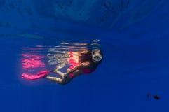 A beautiful girl underwater Stock Photos