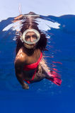 A beautiful girl underwater Royalty Free Stock Photos