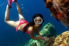 A beautiful girl underwater Stock Photos