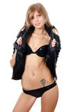 The beautiful girl in underwear and a leather jacket Royalty Free Stock Photography