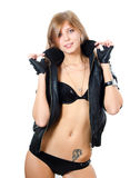 The beautiful girl in underwear and a leather jacket Royalty Free Stock Images