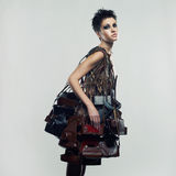 Beautiful girl in an unusual dress Stock Photos