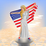A beautiful girl with the USA flag Royalty Free Stock Images
