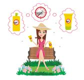 Beautiful girl using insect repellent spray and ointment vector illustration