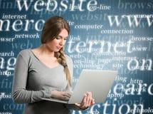 Beautiful girl using internet Stock Photography