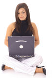 Beautiful girl using a laptop Stock Photography