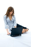 Beautiful girl using laptop Stock Photo