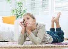 Beautiful girl using  telephone Stock Photo