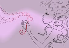 Beautiful girl Valentine's day. Vector illustration Royalty Free Stock Photography