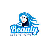 Beautiful Girl Vector Illustration. Beauty Salon Logo Template. Smiling Beautiful Girl with Long Hair Logo Template Stock Photo