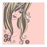 Beautiful girl - vector illustration on white background Royalty Free Stock Photo