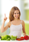 Beautiful girl with vegetables Royalty Free Stock Images