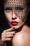 Beautiful girl with a veil, evening makeup, black Stock Photo