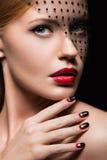 Beautiful girl with a veil, evening makeup, black Stock Photos