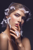 Beautiful girl in veil with feathers. Portret of beautiful young woman with natural makeup. Face covered in veil net with white feathers on it. Hands with beige Stock Photo