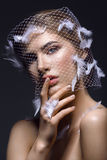 Beautiful girl in veil with feathers Royalty Free Stock Images
