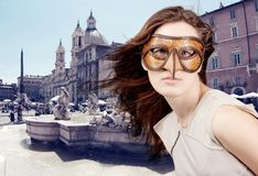 Beautiful girl with the Venetian mask Stock Photography