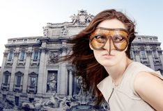 Beautiful girl with the Venetian mask Royalty Free Stock Photography