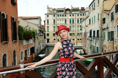 Beautiful girl in Venice Stock Photography