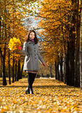 Beautiful girl. Vertical photo,  happy beautiful girl  with  autumnal  leaf, in park Stock Photo