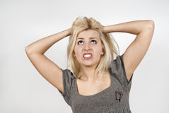 Beautiful girl is very upset Royalty Free Stock Images