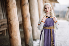 Beautiful girl viking. Historic figure, an old dress royalty free stock photos
