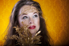 Beautiful girl on vintage artistic background Stock Photos