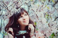 Beautiful girl in a vintage dress. Spring flowers. Lolita style. Victorian style. Beautiful girl in a vintage dress. Spring flowers. Victorian style stock photos