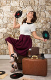 Beautiful girl with vintage vinyl records Royalty Free Stock Photography