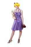 Beautiful girl in violet dress Royalty Free Stock Images