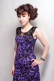 Beautiful girl in a violet dress Royalty Free Stock Photos