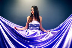 Girl in violet long dress Royalty Free Stock Photos