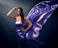 Beautiful girl in violet long dress Stock Images