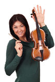 Beautiful girl with violin Stock Image